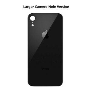 iPhone XR Back Glass Cover Back Battery Door Installed Adhesive Black