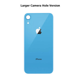 iPhone XR Back Glass Cover Back Battery Door Installed Adhesive Blue