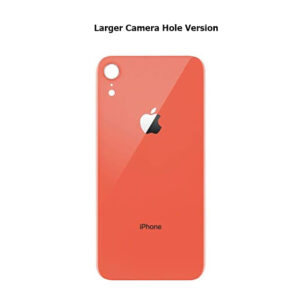 iPhone XR Back Glass Cover Back Battery Door Installed Adhesive Coral