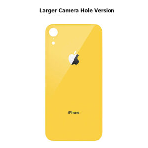 iPhone XR Back Glass Cover Back Battery Door Installed Adhesive Yellow